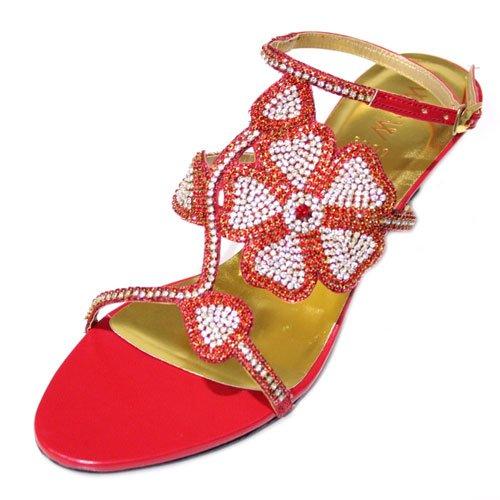 & W avec strass pour femme à talon bas Dressy Chaussures de soirée pour femme Taille 38 (or, vert, violet, rouge MADEL Rouge - rouge