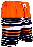 GUGGEN Mountain Herren Badeshorts Beachshorts Boardshorts Badehose Schwimmhose Männer mit Muster *Print* Orange Schwarz XL