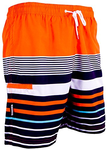 GUGGEN Mountain Herren Badeshorts Beachshorts Boardshorts Badehose Schwimmhose Männer mit Muster *Print* Orange Schwarz XL - Orange Badehose Trunks
