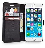 WIIUKA Echt Ledertasche -TRAVEL Away- für Apple iPhone 8 Plus und iPhone 7 Plus mit Vier Kartenfächern, extra Dünn Tasche Schwarz Premium Design Leder Hülle
