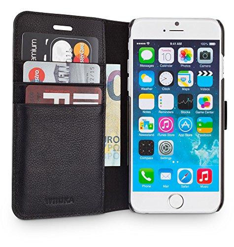 WIIUKA Echt Ledertasche -Travel Away- für Apple iPhone 8 und iPhone 7 mit Vier Kartenfächern, Extra Dünn Tasche Schwarz Premium Design Leder Hülle