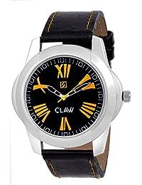 CLAW Fashion Analog Black Dial ,Black Leather Strap Wrist Watch For Men & Boys