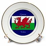 3drose CP _ 165735_ 1Flagge von Wales auf Blau Hintergrund Wales in Englisch bedruckt, welsh-porcelain Teller, 20,3cm