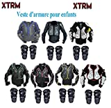 Veste de Protection Moto XTRM Veste Armure Enfant Corps Nouveau Vélo Quad MX Course Hors-Piste Armure pour VTT Sport CE Approuvé avec Protection de Genoux - Noir/Bleu - 8 Annees/M