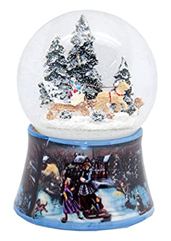 20084 Nostalgie-Schneekugel Romantische Kutschfahrt Dreh-Spieluhr 10cm Durchmesser