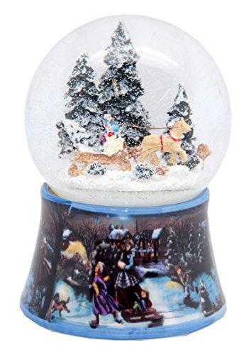 20084snow globe nostalgic sleighride con rotazione e music box 140mm altezza 10cm durchmesser