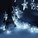 Iwish étanche 20LED Lampe solaire Cristal étoiles Guirlande lumineuse solaire pour extérieur, jardins, maisons, mariage, fête de Noël, plastique, blanc 1.80 wattsW 220.00 voltsV