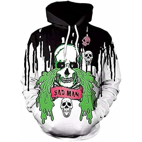 WHLWY Suéter Con Capucha Abrigo De Invierno Moda 3D Graffiti Skull Sweater Coat La Figura De Color Xxl Sudaderas Con Capucha