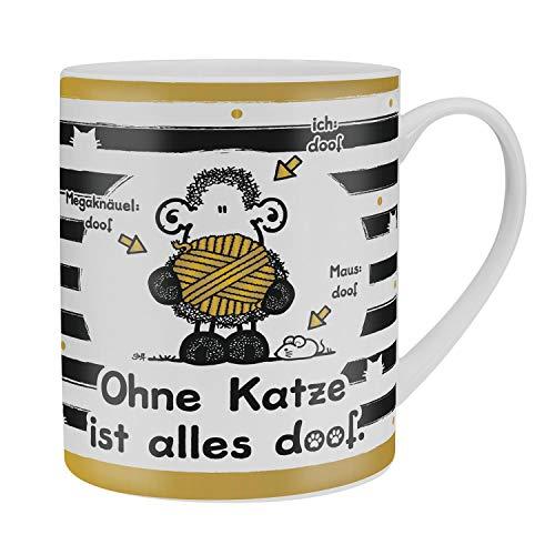 Sheepworld 45991 XL-Tasse mit Spruch Ohne Katze ist alles doof, Porzellantasse, 60 cl, mit Geschenk-Banderole