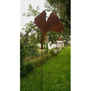 Gartendeko rost stecker als ginko blatt 100cm for Gartendeko stecker