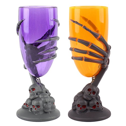 SpringPear® 1 Paar Becher für Halloween Gruselkelche Kelche mit Totenkopf Knochenhand LED-Licht Leuchtend Deko 2er-Set in Orange (Halloween Kunststoff Becher)