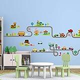 YANCONG Pegatinas de Pared Calcomanías de PVC Autopista Coches para Niños Bebé Guardería Niños Sala de Juegos Dormitorio Sala de Estar Decoración para el hogar Arte Mural