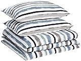 AmazonBasics Premium Microfibre Duvet Cover Set - 230 x 220 cm / 50 x 80 cm, Coastal Stripe