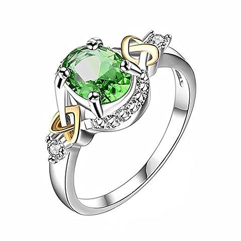 Upxiang Ringe Fingerring-Set, Frauen Hochzeit Verlobungsring, Kristall Schmuck Ringe, Orientalisches Vintage Fashion Ring für Frauen Geschenk (Grün, 6)