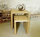 Hocker Set Eiche massiv, stabile gezinkte Verbindung, sandgestrahlt, Höhe 42/32 cm Beistelltisch, Couchtisch, Nachttisch, Blumenhocker