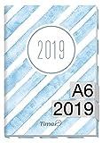 Chäff-Timer mini A6 Kalender 2019 [Aquarell-Streifen] 12 Monate Jan-Dez 2019 - Terminkalender mit Wochenplaner - Organizer - Wochenkalender