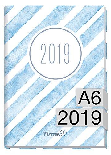 Chaeff-timer mini a6calendario 2019[acquerello strisce] 12mesi jan di dez 2019-agenda con agenda settimanale-organizer-settimana calendario