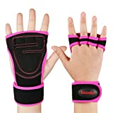 Fitness Gloves, HiCool Half Finger Weight Lifting Gloves with Wrist Support for Men and Women (Pink, L)