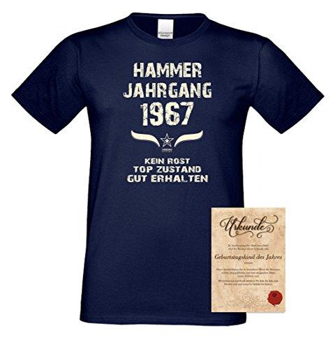 rohuf Design T-Shirt Unisex Soreso Design Urkunde Geschenk-Set Zum Geburtstag Hammger Jahrgang 1967, Größe:3XL, Farbe:05-Navy (5 Geburtstag Shirt Drehen)