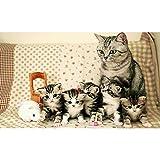 5D DIY Diamond Painting disegno Kit una cucciolata di gatti Pittura diamante Ricamo Strass Punto Croce Arte Artigianato Decorazione Casa Pareti Regalo immagini tela anime Z990 Round Drill,40x50cm