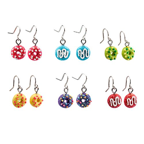 Drop Earrings for Girls – Donut Shaped Drop Earrings for kids – Made of Polymer Clay – Children's earrings - 6 Pairs
