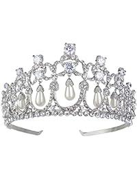 Ever Faith - Clasico Estilo Perla Simulado Boda Corona Tiara Pelo Claro Cristal Austriaco A09534-1