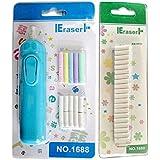BEETEST Escuela de borrador eléctrico recargable borrador de lápiz con borrador colorido 20 recargas Set + 20 piezas recargas blanco repuesto borrador