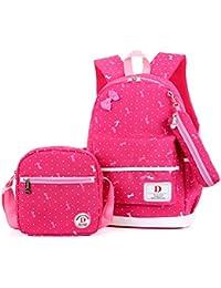 FRISTONE École Sac à dos/3pcs Enfants sac à sac à dos scolaire pour les filles+ Sac d'Épaule+Crayon sacs (Rose rouge)