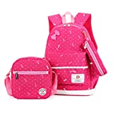 FRISTONE Set von 3 Mädchen Niedliche Polka Punkt BuchTasche/Schultaschen/Rucksäcke /Schulrucksäcke /Kinderbuchtasche Mädchen Teenager + Mini handtasche + Federmäppchen(Rose rot)