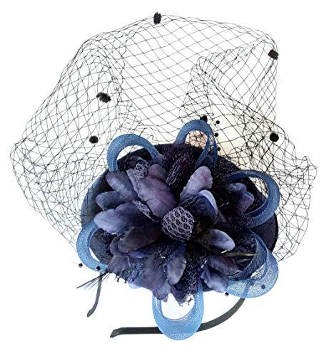 Fascinator Hut-Pillbox-Hut Britischer Bowler-Hut-Blumen-Schleier-Hochzeits-Hut-Tee-Party-Hut (Navy blau) - Der Hüte Mutter Braut