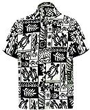 *La Leela* Camicia di Uomini Tropicali Regular Fit Casuali hawaiane di 993 Nero 176