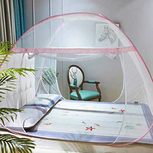 Pliant moustiquaire portable pop up tente maille anti moustique piqûres moustique filet w/Bottom Design pliant avec fond net pour les bébés adultes voyage,pinkdoubledoor,1.8 * 2m