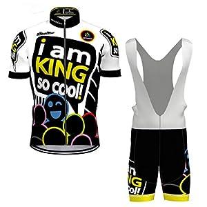 Hengxin Maillot Ciclismo Corto De Verano para Hombre, Ropa Culote Conjunto Traje Culotte Deportivo con 3D Almohadilla De Gel para Bicicleta MTB Ciclista Bici (Blanco, XXXL)