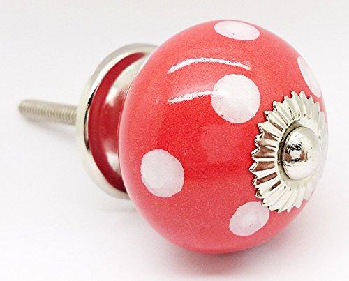 Rosso a pois pois rotondo vintage shabby chic cassettiera manopola maniglia in ceramica porta 4502-r