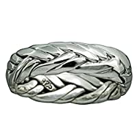 Braid Band Twisted Rope Ring 6.5-9 g 925 Solid Sterling Silver 7mm BELDIAMO (W 1/2)