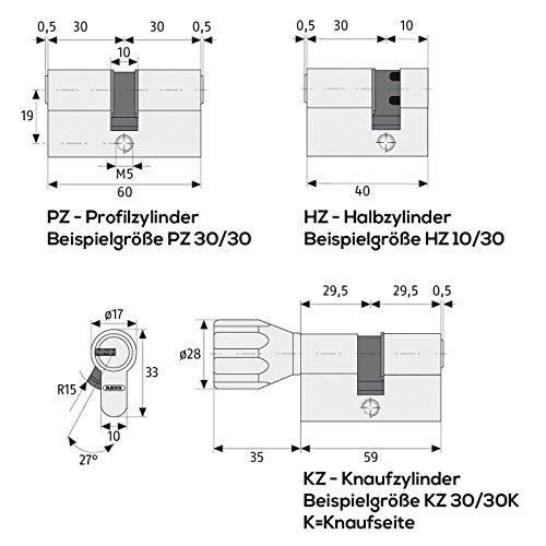 ABUS Profilzylinder Zylinder Türzylinder EC550 EC 550 verschiedenschliessend - 3