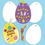 Decoraciones de Cartulina con Forma de Huevos de Pascua para Colorear. Manualidades Creativas para Niños Perfectas para Fiestas de Primavera (Pack de 12)