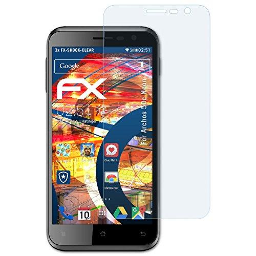 Archos 50c Neon Folie - 3 x atFoliX FX-Shock-Clear stoßabsorbierende ultraklare Panzerfolie Displayschutzfolie