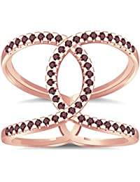 Silvernshine Halo Twist Red Garnet CZ Diamond Engagement Ring 14k Rose Gold Plated Bridal Ring