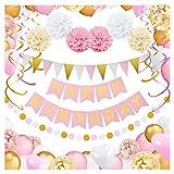 Decorazioni per Feste di Compleanno Bambina - 69 Pz - Include Striscione Happy Birthday, Pompon di Carta, Palloncini, Bandierine Colorate, Spirali e Ghirlanda - Set Rosa, Bianco e Dorato per Bimba