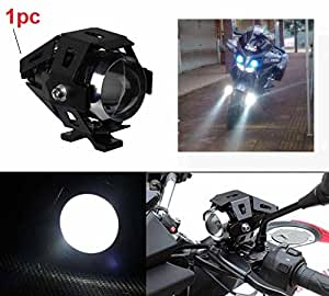 PR U5 Cree Led Auxiliary Lamp Fog Light Lamp Projector Lens With Low Beam High Beam & Strobe Function For Motorcycle Bike Scooter Led Super Power Spot Beam Light with Angle eye For Honda CB Twister 1 Pcs