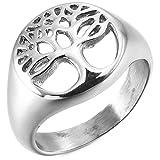 MunkiMix Acero Inoxidable Anillo Ring Toe-Ring Tail-Ring El Tono De Plata Árbol De La Vida Talla Tamaño 20