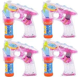 Partyjoker® 4 Stück Seifenblasenpistole mit LED | Sound | Flüssigkeit Seifenblasenmaschine Bubble Gun für Kinder Hochzeit Geschenk