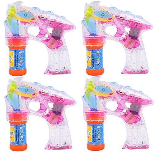 4 Stück Bubble Gun SET Seifenblasenpistole Mit 4 LED und Sound Hochzeit Seifenblasenmaschine Pistole Seifenblasenflüssigkeit thumbnail