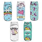 Mädchen Socken, Canvalite 5 Paar Cartoon Einhorn Tier Socken Geschenk für Weihnachten Karneval Freizeit