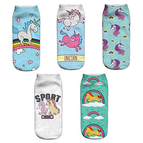 Einhorn Socken, 5 Paar Cartoon Einhorn Tier Socken Geschenk für Weihnachten Karneval Freizeit