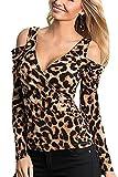 La Mujer Casual Hombro Frio Deep V Neck T Shirt Slim Tapa Acanalada tee Leopard XL