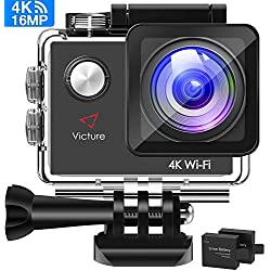 Victure Camera Sport 4K WiFi 16MP Appareil Photo Caméscope Étanche 30M Caméra Action à Écran LCD 2'' avec 2 Batteries Rechargeable et Kit d'Accessoires