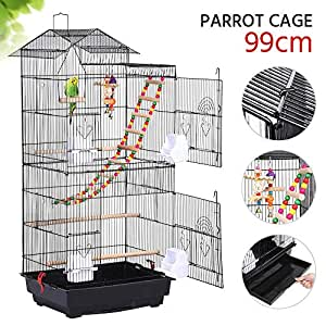 Yaheetech 39''H Roof Top Large Metal Bird Cage Parrot Cockatiel Conure Parakeet Budgie Lovebird Finch Pet Bird Cage w/1 Ladder & 2 Hanging Toys & 1 Swing 46 x 35.5 x 99 cm (LxWxH)