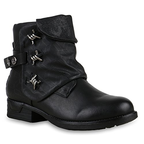 Derbe Damen Schuhe Biker Boots Stiefeletten Stiefel Metallic 125643 Schwarz Brooklyn 39 Flandell